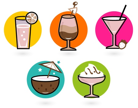 frozen glass: Vibrant retro drinks. Vector icons collection