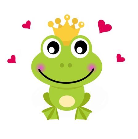 rana caricatura: Frog Prince. Vector ilustración de dibujos animados