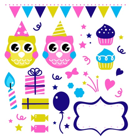 Owl party set. Vector cartoon illustration Vector