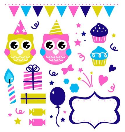 Owl party set. Vector cartoon illustration Stock Vector - 14583413