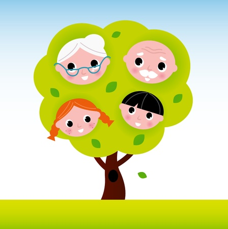 grandparent: Cartoon two generation family tree. Vector Illustration