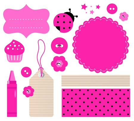 Pink scrabook elements. Vector cartoon Vector