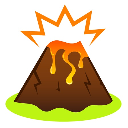 island clipart: Island volcano with lava icon isolated on white