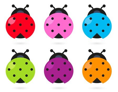 Stylized colorful Ladybugs collection. Vektorové ilustrace