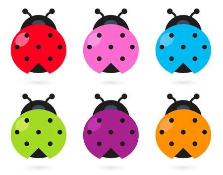 cute creature: Stylized colorful Ladybugs collection.