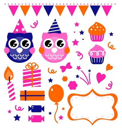 civetta bianca: Retro gufo elementi festa di compleanno impostato. cartone animato Vettoriali