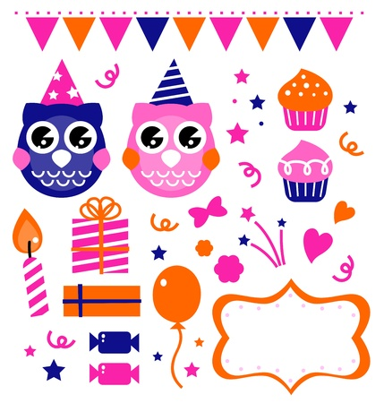 Retro owl birthday party elements set.  cartoon Vector