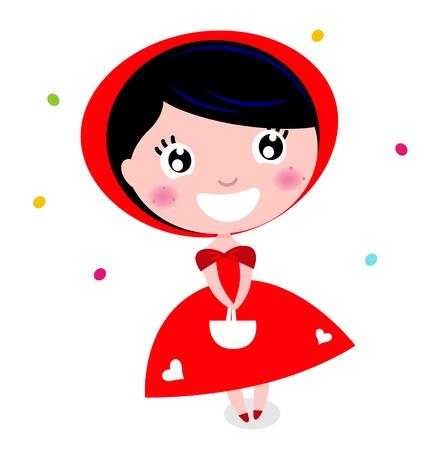 czerwony kapturek: Cartoon czerwony Kapturek. Ilustracja