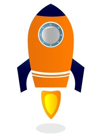 gestileerde Rocket Ship Vector Illustratie