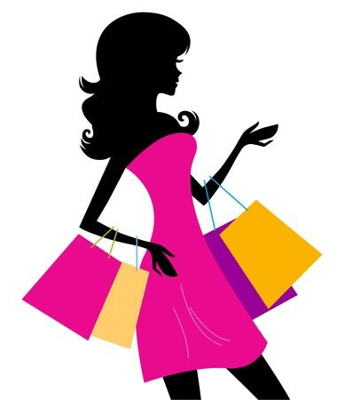 fashion shopping: Chica de compras con bolsas de color rosa silueta. ilustraci�n