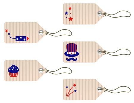 american flag fireworks:  4th july icon set. Vector design elements Illustration