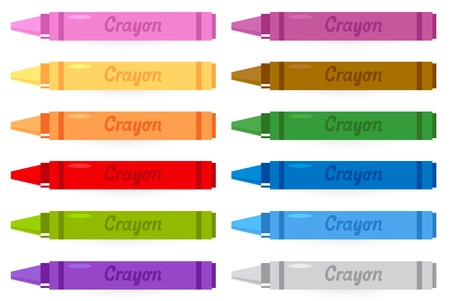 Group of crayons isolated on white. Vector Illustration