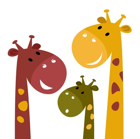 Happy cartoon Giraffes. Vector Illustration