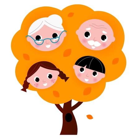 поколение: Два поколения семьи дерево. Векторные иллюстрации мультфильм