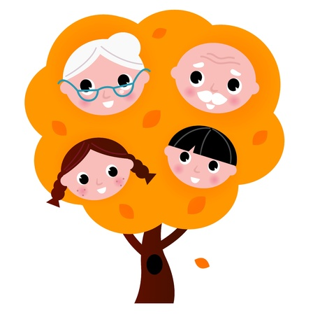 Two generation family tree. Vector cartoon illustration Vector