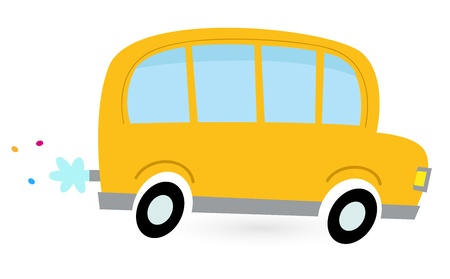 schoolbus: School bus isolated on white. Vector cartoon Illustration