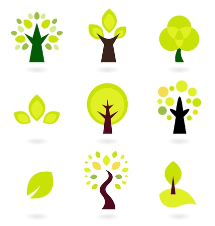 tree logo: Trees collection. Vector Illustration.