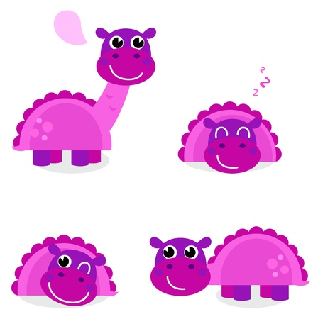 Purple Dino for kids. Vector cartoon Illustration Vector