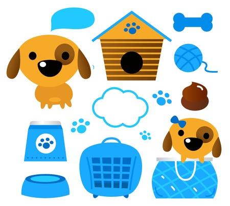 carriers: Design elements for your dog. Vector cartoon