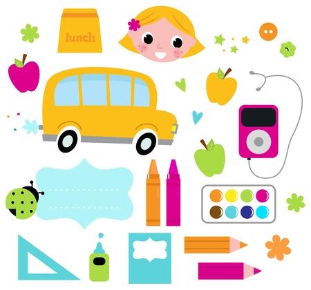 Los elementos de diseño para el tiempo de la escuela. Vector ilustración de dibujos animados
