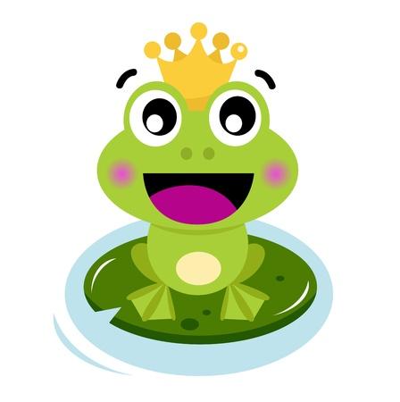 sapo principe: Frog Prince. Vector ilustraci�n de dibujos animados