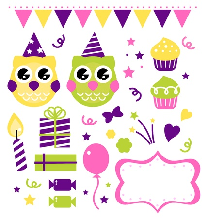 Owl set for your birthday party. Vector cartoon illustration