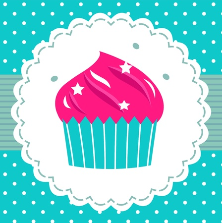cupcake illustration: Cute pink cupcake for your party. Vector cartoon