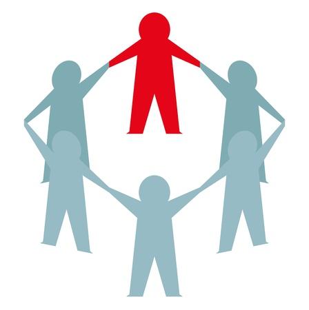 manos unidas: Paper Man unirse a grupo empresarial. Vector