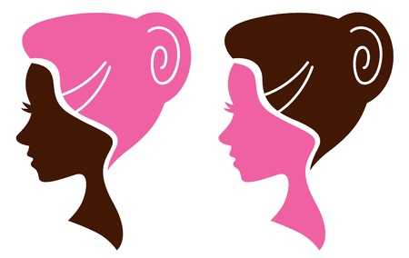 Women head in profile. Vector Illustration Vector