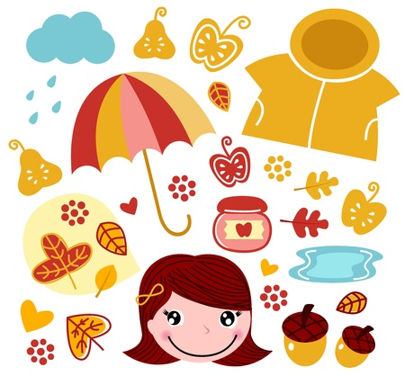 rain coat: Garden and autumn collection. Vector illustration