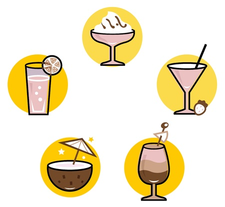 Retro cocktails collection. Vector Illustration Vector