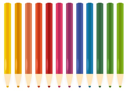 Color pencils isolated on white. Vector Vector