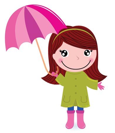 botas de lluvia: Autumn ni�o con Umrella. Vector ilustraci�n de dibujos animados Vectores