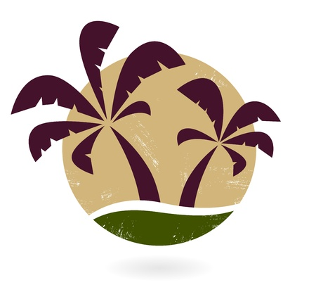 Brown grunge stamp with palm trees. Vector