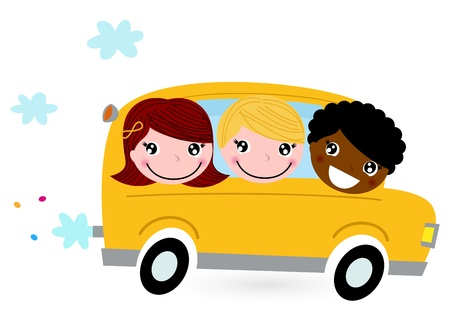 cartoon land: School children riding in a school bus. Vector