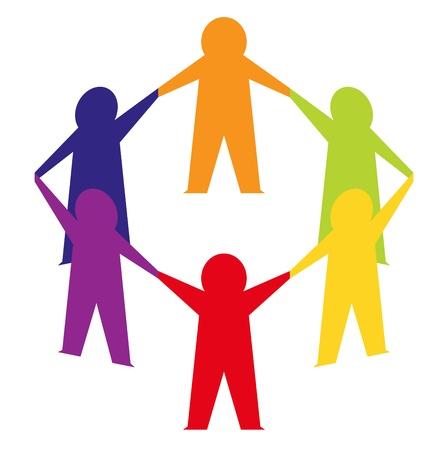 cooperativismo: La gente de papel del equipo. Vector Illustration Vectores