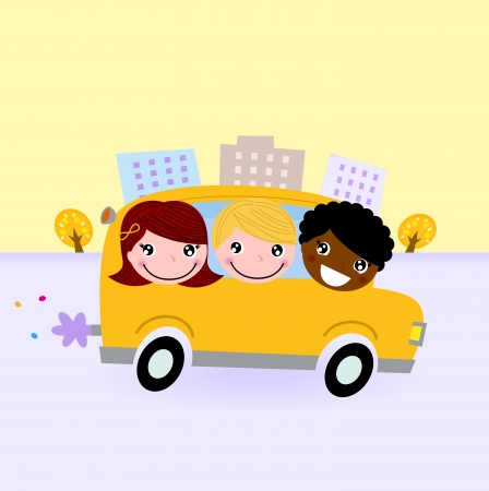 Felices los ni�os viajar con el autob�s escolar. Vector Illustration