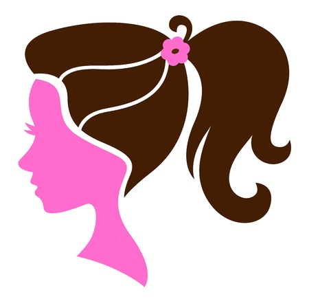 Female silhouette with elegant hairstyle. Vector