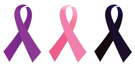 black breast: Set of aids and breast cancer ribbons signs. Vector Illustration