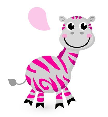 Zebra with speech bubble. Vector cartoon Illustration