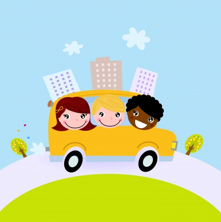 schoolbus: Happy children on the way to school Illustration