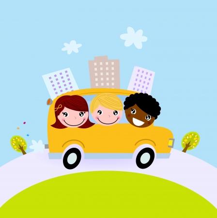ir al colegio: Ni�os felices en el camino a la escuela Vectores