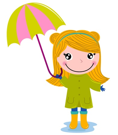 seasonal clothes: Happy blond child holding umrella cartoon Illustration Illustration
