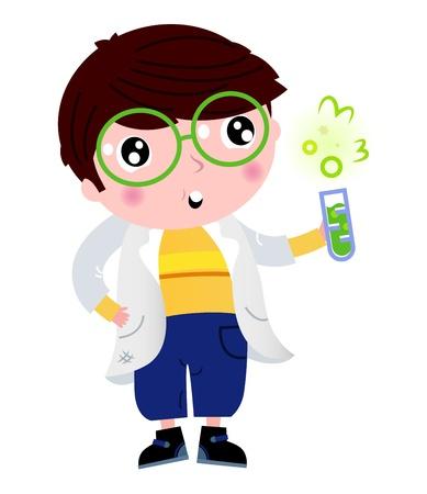 Terug naar school: Cute little wetenschapper cartoon Illustratie Vector Illustratie
