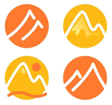 ice climbing: Hill in circles icons set Illustration