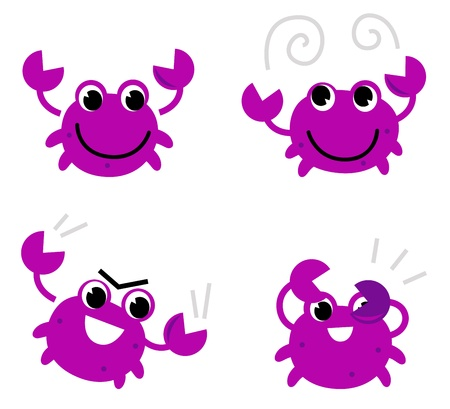 crabs: Cute pink crab set cartoon Illustration Illustration