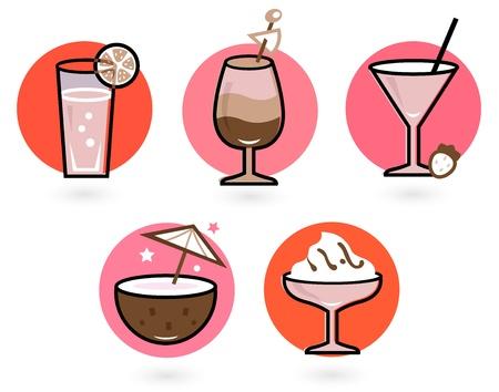 soda pop: Vintage cocktail set cartoon illustration Illustration