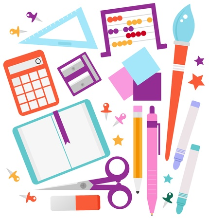 art and craft equipment: Set of school accessories and design elements cartoon