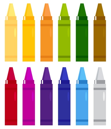 Group of crayons isolated on white Illustration Vector
