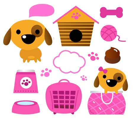 Cartoon pink set for baby dog Illustration Vector